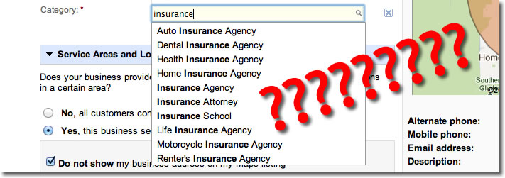 google-places-insurance-agency-categories