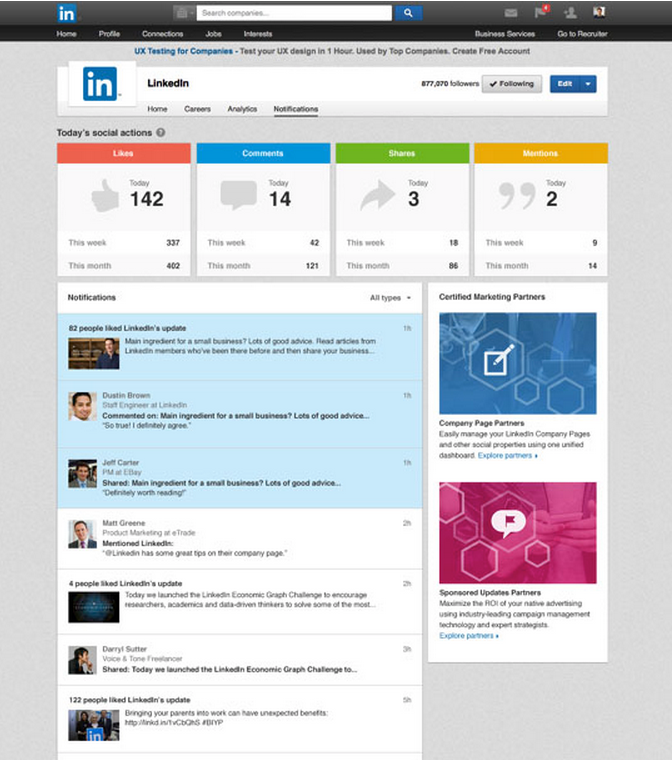 LinkedIn Introduced Notification Center For LinkedIn Company Pages