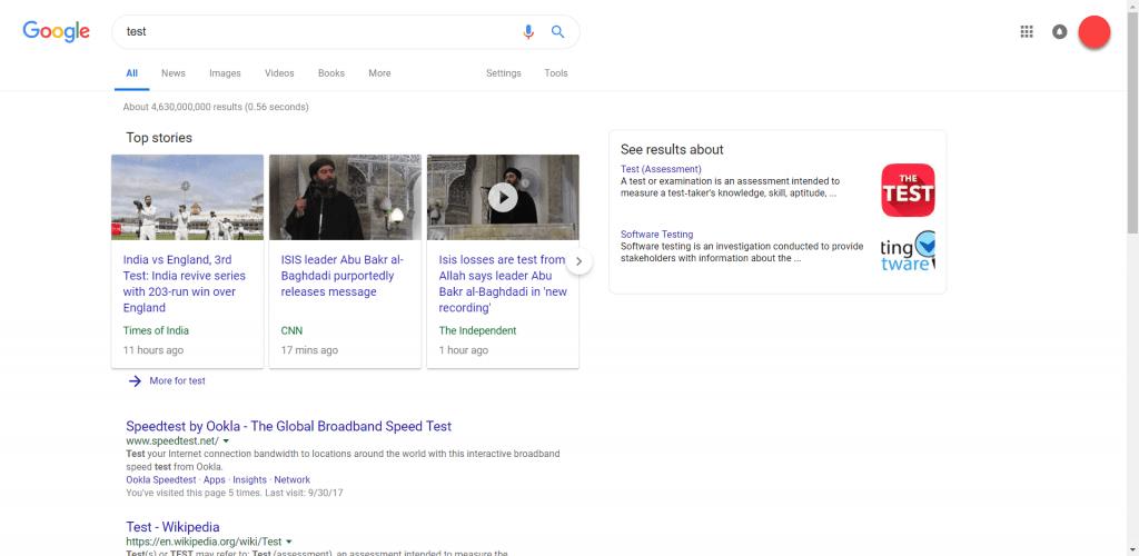 google tests new design desktop search